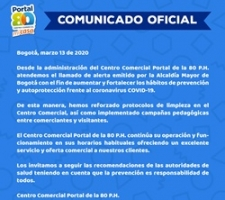 Comunicado oficial del Centro Comercial frente al coronavirus